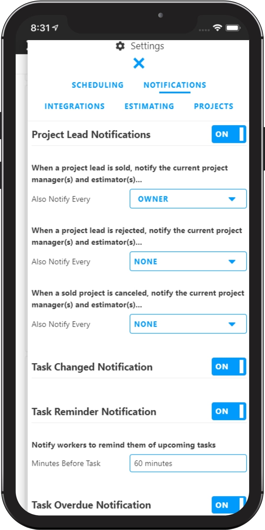 Mobile Notifications Settings with Projul