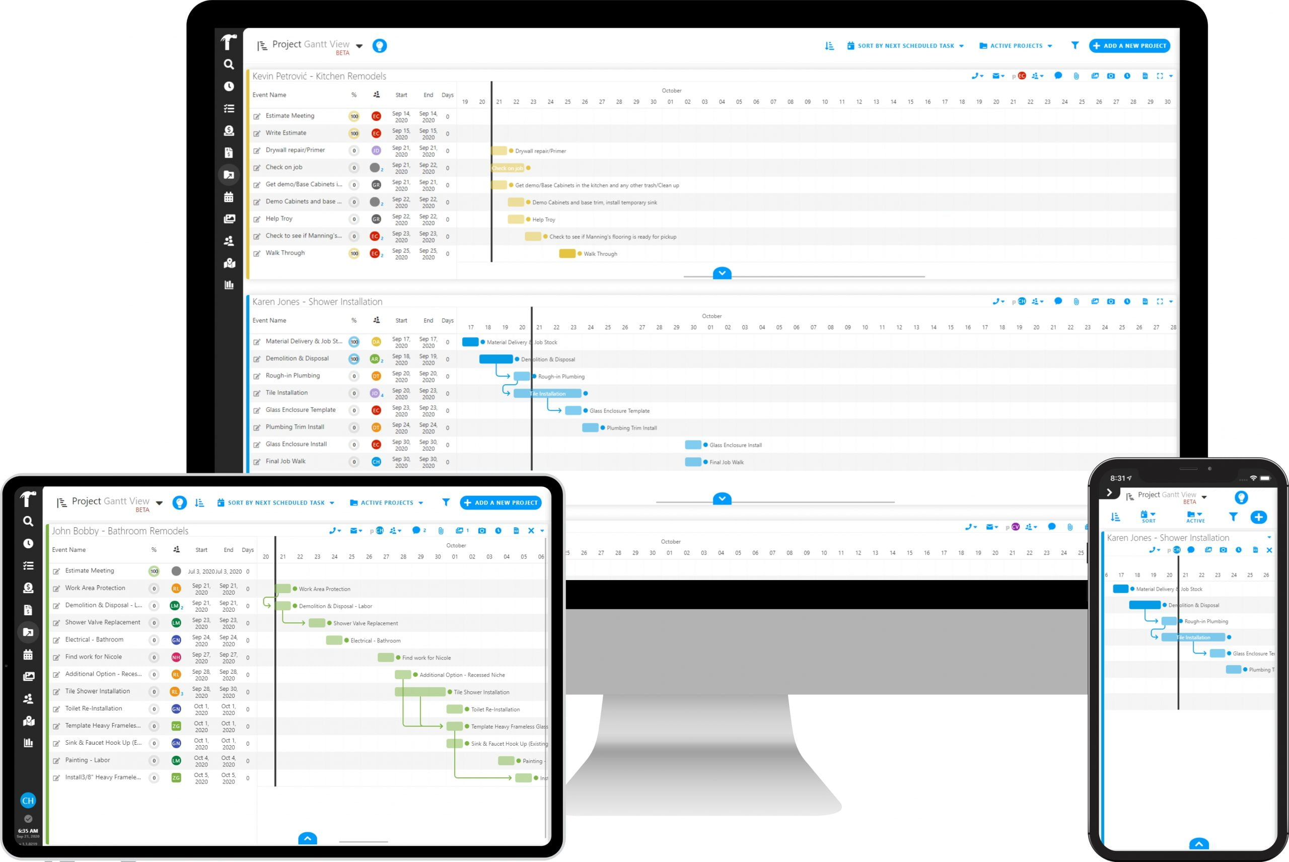 Projul gantt chart view project management