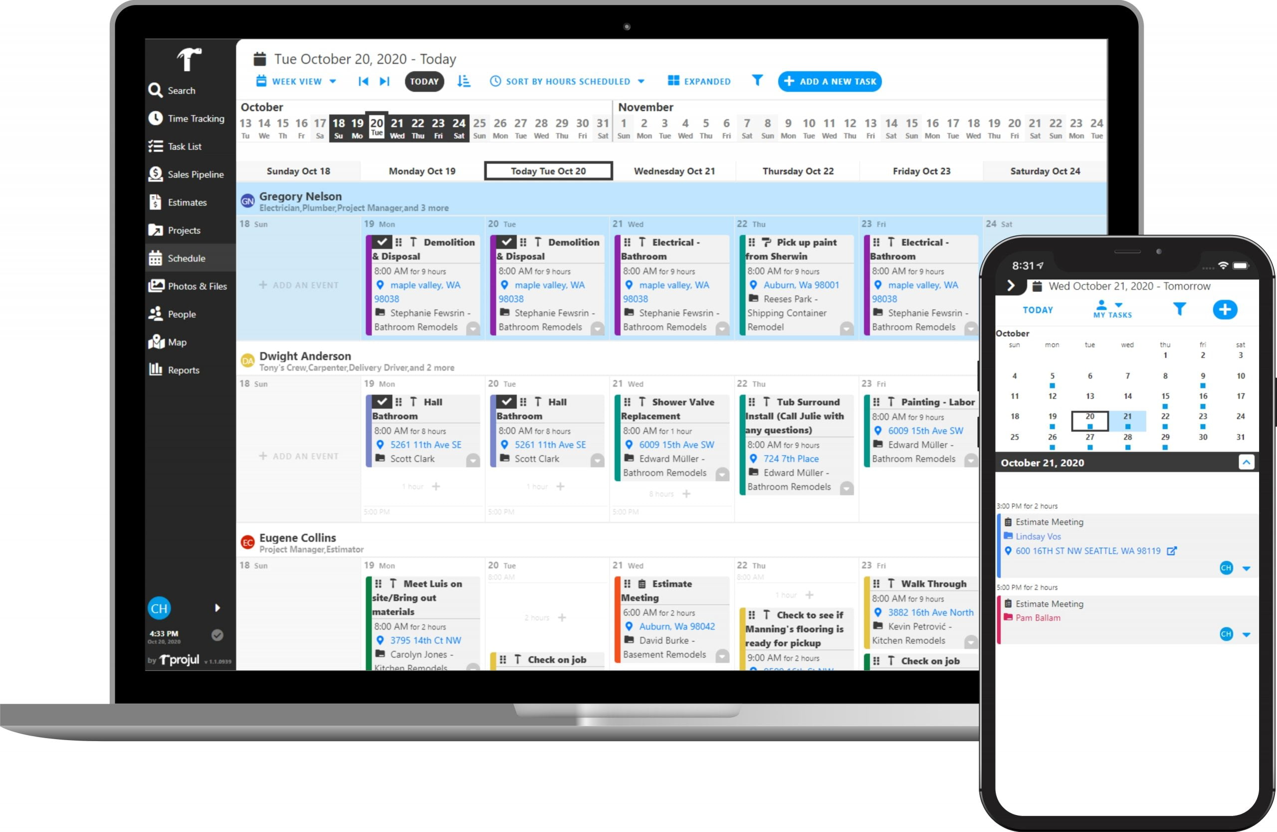 Projul Construction Management Scheduling on Desktop and Mobile